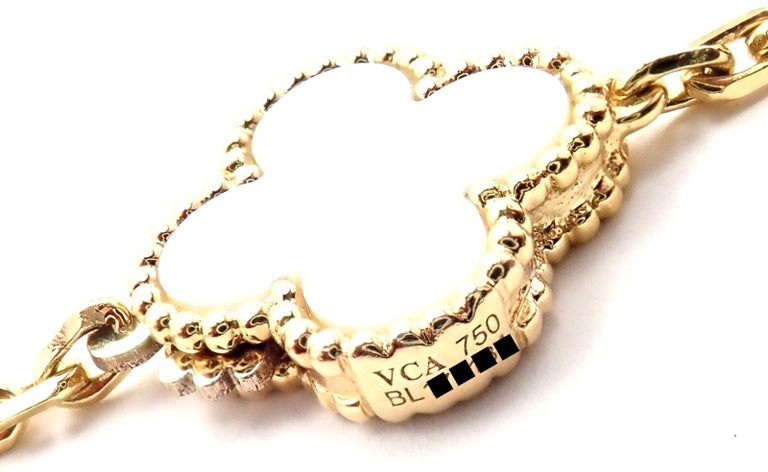 Uncut Van Cleef & Arpels Magic Alhambra Mother of Pearl Onyx Long Yellow Gold Necklace For Sale