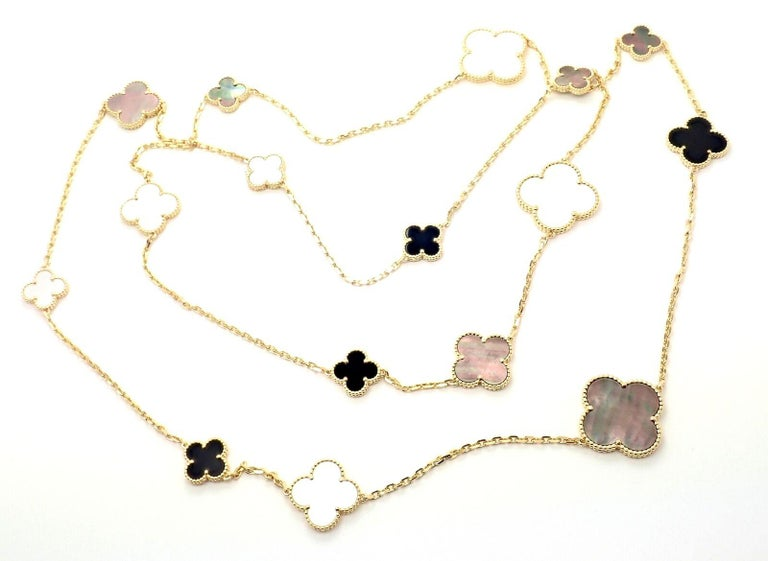 Van Cleef & Arpels Magic Alhambra Mother of Pearl Onyx Long Yellow Gold Necklace For Sale 2