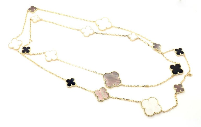 Van Cleef & Arpels Magic Alhambra Mother of Pearl Onyx Long Yellow Gold Necklace For Sale 3