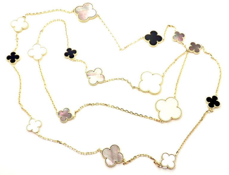 Van Cleef & Arpels Magic Alhambra Mother of Pearl Onyx Long Yellow Gold Necklace For Sale 4