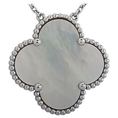 Van Cleef & Arpels Magic Alhambra Mother of Pearl White Gold Pendant Necklace