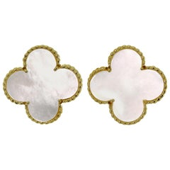Van Cleef & Arpels Magic Alhambra Mother of Pearl Yellow Gold Earrings