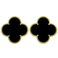 Van Cleef & Arpels Magic Alhambra Onyx 18 Karat Yellow Gold Earrings