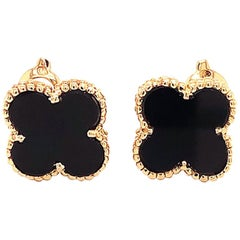 Van Cleef & Arpels Magic Alhambra Onyx Earrings, 18 Karat Yellow Gold