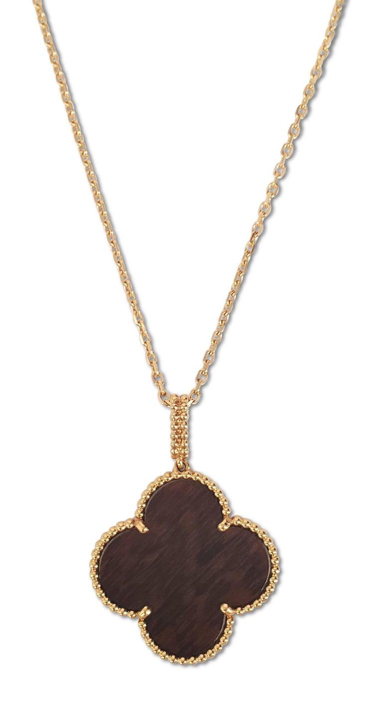 Modern Van Cleef & Arpels 'Magic Alhambra' Single Motif Long Necklace in Wood For Sale