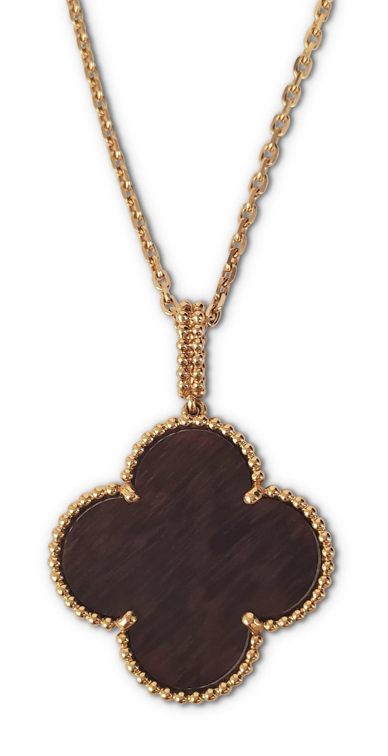 Van Cleef & Arpels 'Magic Alhambra' Single Motif Long Necklace in Wood In Excellent Condition For Sale In New York, NY