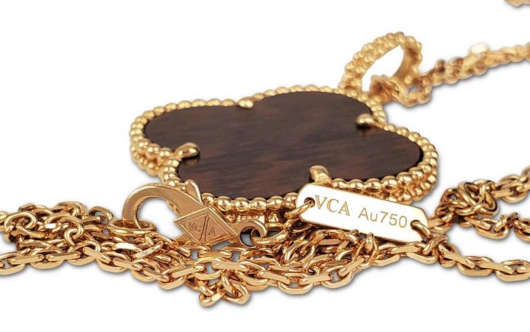 Women's Van Cleef & Arpels 'Magic Alhambra' Single Motif Long Necklace in Wood For Sale