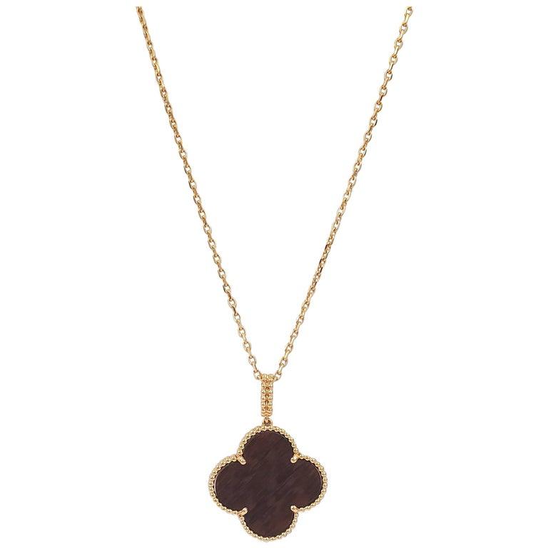Van Cleef & Arpels 'Magic Alhambra' Single Motif Long Necklace in Wood For Sale
