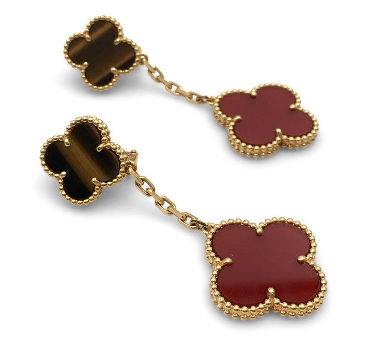 Uncut Van Cleef & Arpels 'Magic Alhambra' Tigers Eye and Carnelian Earrings For Sale