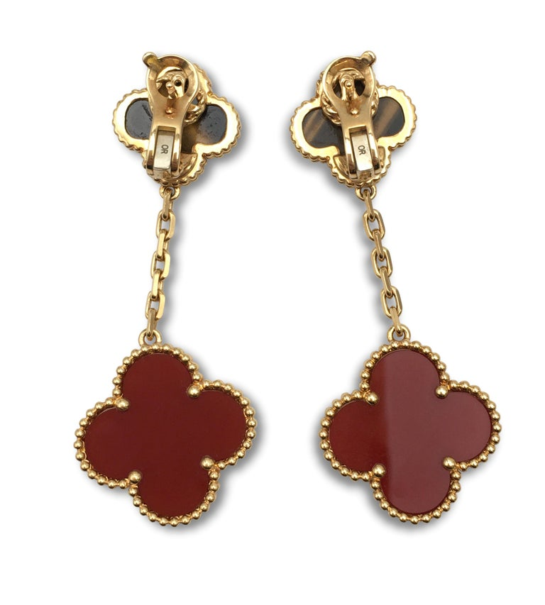 Van Cleef & Arpels 'Magic Alhambra' Tigers Eye and Carnelian Earrings In Excellent Condition For Sale In New York, NY