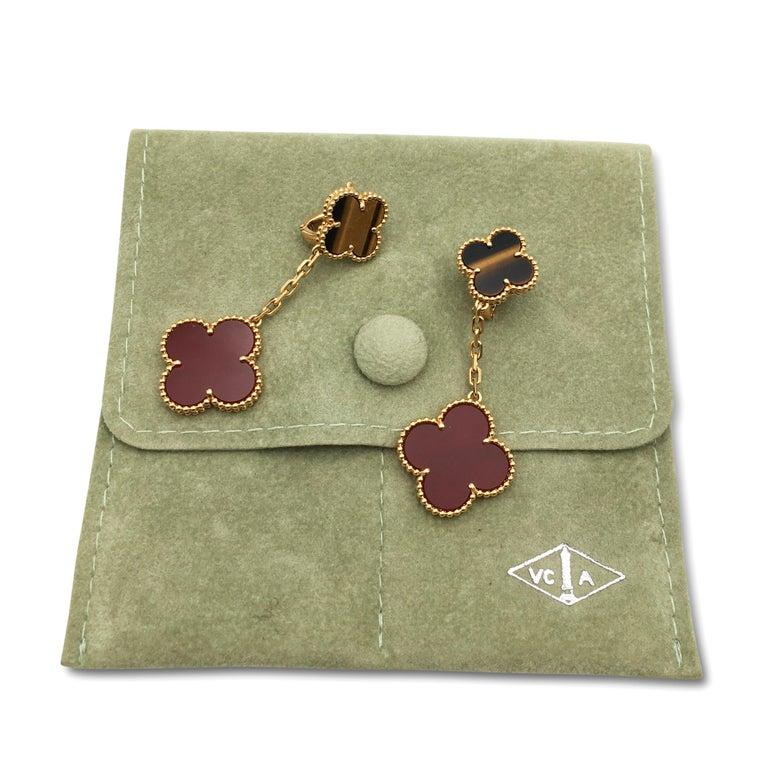 Van Cleef & Arpels 'Magic Alhambra' Tigers Eye and Carnelian Earrings For Sale 1