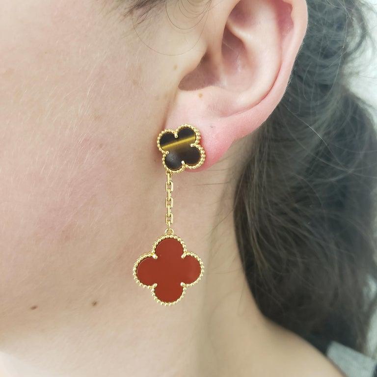 Van Cleef & Arpels 'Magic Alhambra' Tigers Eye and Carnelian Earrings For Sale 2