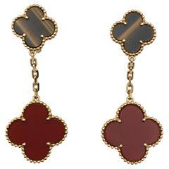 Van Cleef & Arpels 'Magic Alhambra' Tigers Eye and Carnelian Earrings