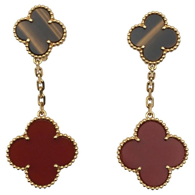 Van Cleef & Arpels 'Magic Alhambra' Tigers Eye and Carnelian Earrings For Sale