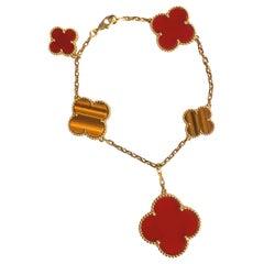 Van Cleef & Arpels Magic Alhambra Tiger's Eye and Red Carnelian Bracelet