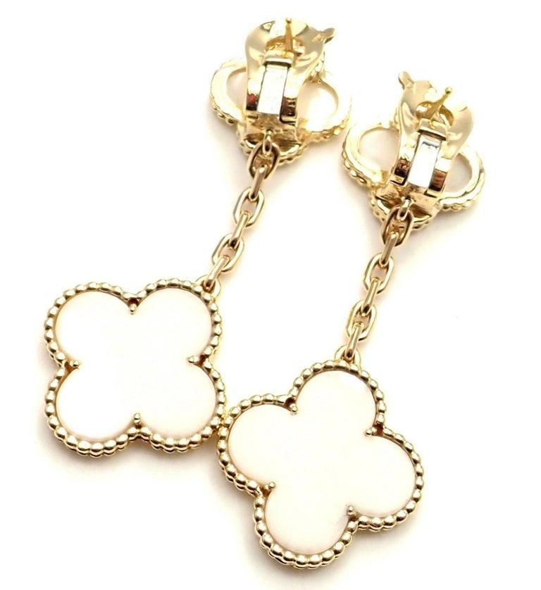 Uncut Van Cleef & Arpels Magic Alhambra White Coral Yellow Gold Drop Earrings For Sale