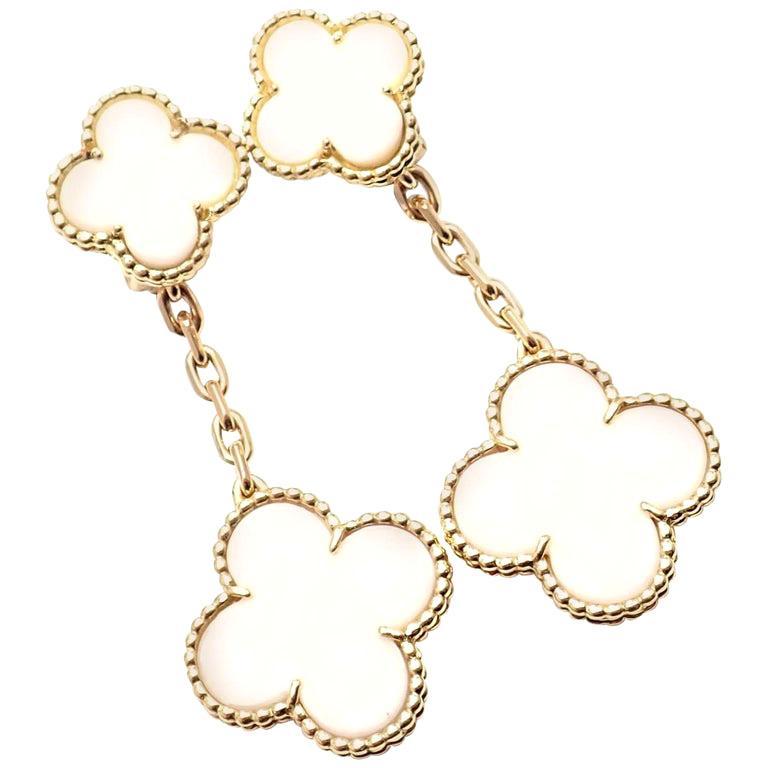 Van Cleef & Arpels Magic Alhambra White Coral Yellow Gold Drop Earrings