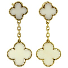 Van Cleef & Arpels Magic Alhambra White Coral Yellow Gold Earrings
