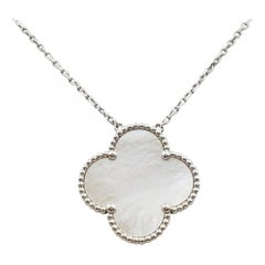 Van Cleef & Arpels 'Magic Alhambra' White Gold Mother of Pearl Pendant Necklace