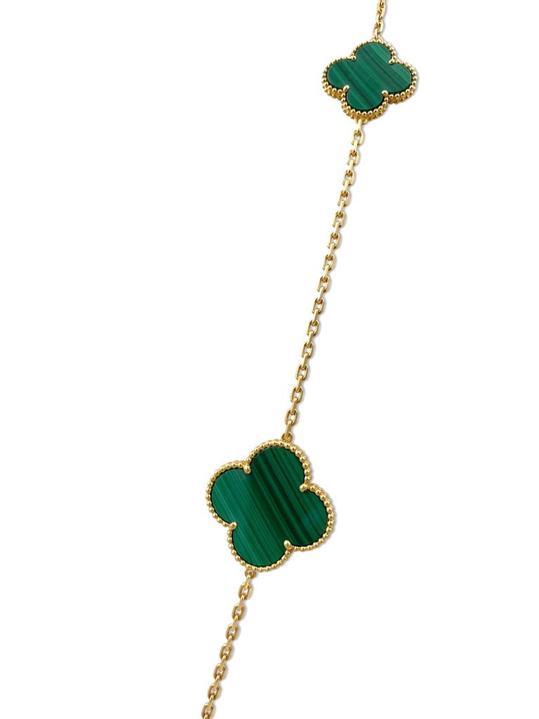 Women's Van Cleef & Arpels 'Magic Alhambra' Yellow Gold and Malachite 16-Motif Necklace For Sale