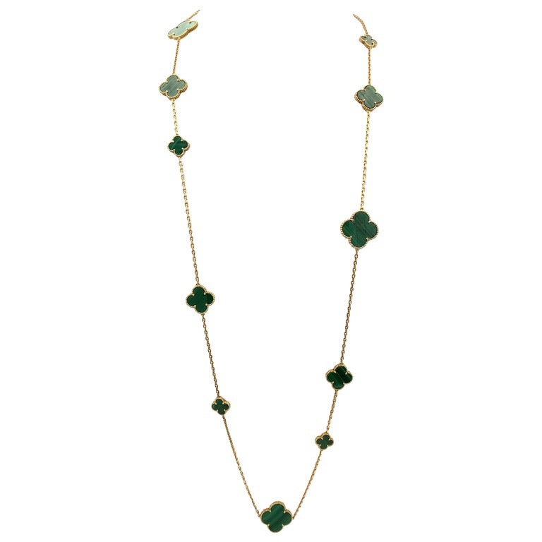 Van Cleef & Arpels 'Magic Alhambra' Yellow Gold and Malachite 16-Motif Necklace For Sale