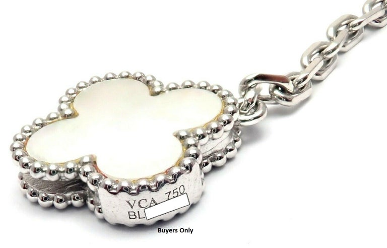 Van Cleef & Arpels Magic White and Grey Mother of Pearl White Gold Necklace For Sale 3