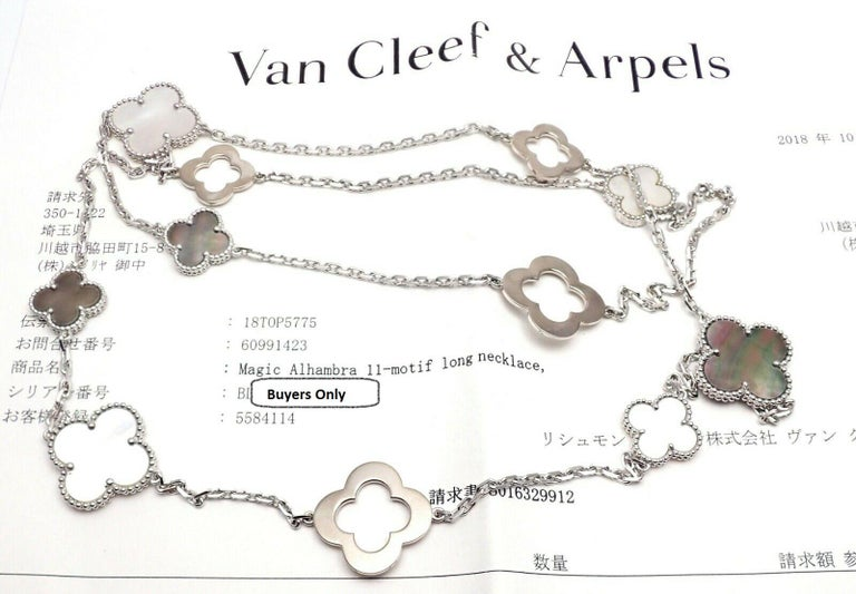 Van Cleef & Arpels Magic White and Grey Mother of Pearl White Gold Necklace For Sale 4