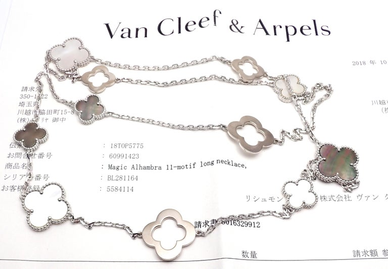 Van Cleef & Arpels Magic White and Grey Mother of Pearl White Gold Necklace For Sale 5
