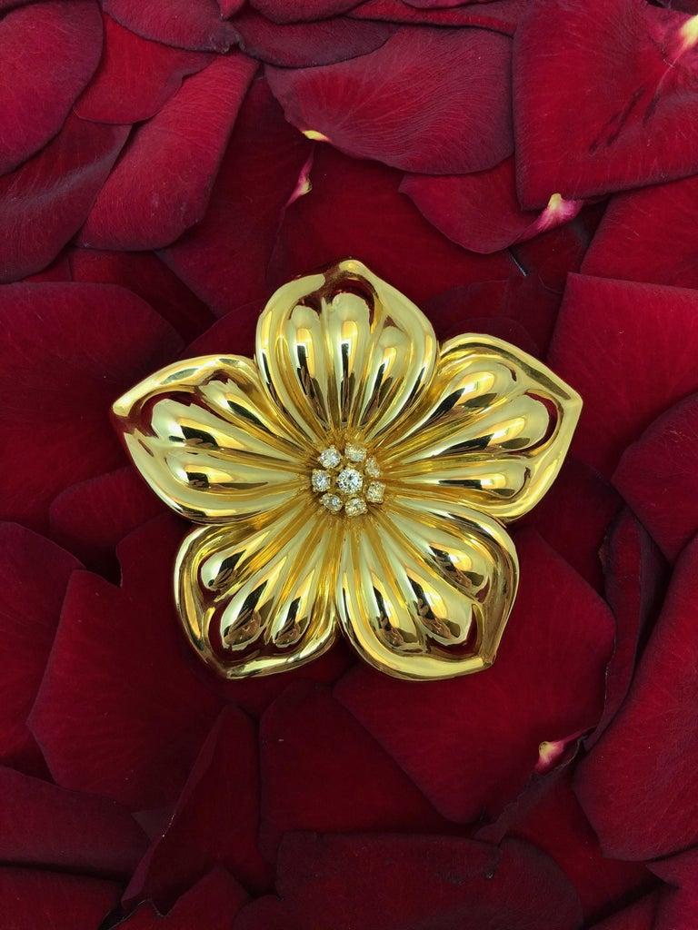 Women's or Men's Van Cleef & Arpels Magnolia Brooch For Sale