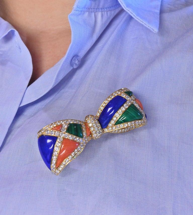 Women's Van Cleef & Arpels Malachite Lapis Coral Diamond Gold Bow Brooch For Sale
