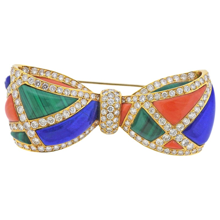 Van Cleef & Arpels Malachite Lapis Coral Diamond Gold Bow Brooch For Sale