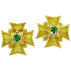 Van Cleef & Arpels Maltese Cross Pin Brooch Clip Pendant Pair of Gold Gemstones