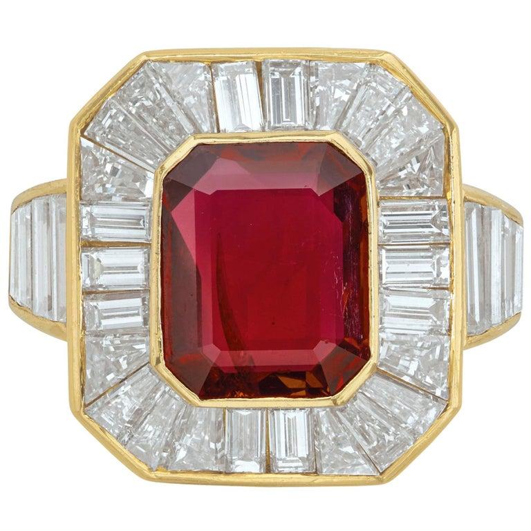 Van Cleef & Arpels Men's Ruby and Diamond Ring For Sale