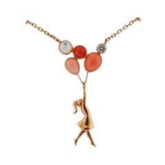 Van Cleef & Arpels Mercredi a Paris Rose Gold Diamond Coral Necklace
