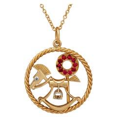 Van Cleef & Arpels Midcentury Diamond Ruby Gold Rocking Horse Charm Pendant