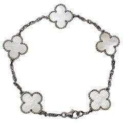 Van Cleef & Arpels Mother of Pearl 18 Karat White Gold Vintage Alhambra Bracelet