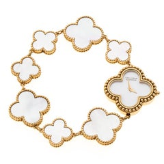 Van Cleef & Arpels Mother Of Pearl 18K Yellow Gold Vintage Alhambra Women's Brac