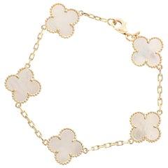 Van Cleef & Arpels Mother of Pearl Alhambra 18 Karat Gold 5 Motifs Bracelet