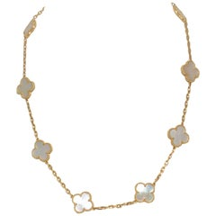 Van Cleef & Arpels Mother of Pearl Alhambra Necklace 10 Clover Motifs