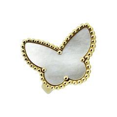 Van Cleef & Arpels Mother of Pearl Butterfly 18 Karat Gold Ring
