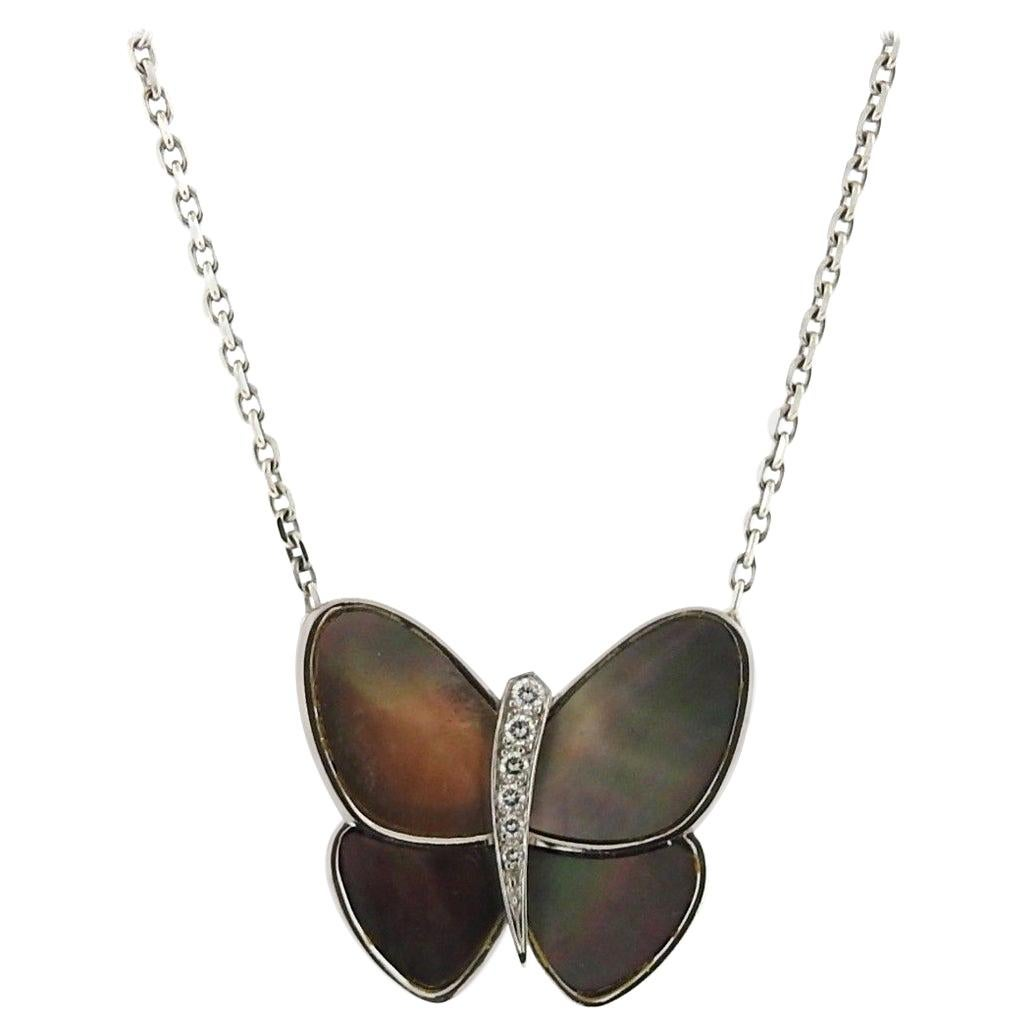 Van Cleef & Arpels Mother of Pearl Diamond Gold Butterfly Necklace