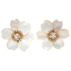 Van Cleef & Arpels Mother of Pearl Diamond Rose De Noel 18 Karat Gold Earrings