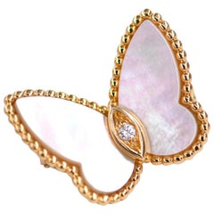 Van Cleef & Arpels Mother of Pearl Gold Butterfly Clip Brooch