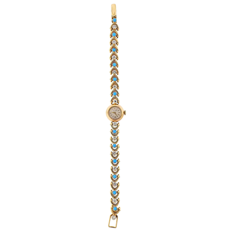 Van Cleef & Arpels Movado Turquoise Diamond Gold Watch Bracelet