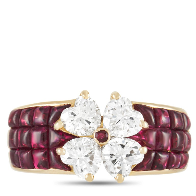 Van Cleef & Arpels Mystery 18k Yellow Gold 2.00 Ct Diamond and Ruby Ring In Excellent Condition In Southampton, PA