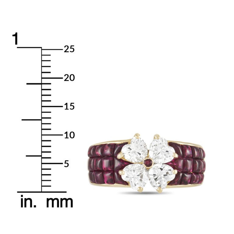 Van Cleef & Arpels Mystery 18k Yellow Gold 2.00 Ct Diamond and Ruby Ring 1