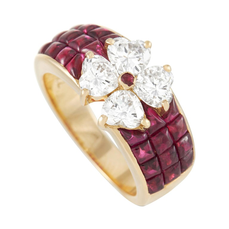 Van Cleef & Arpels Mystery 18k Yellow Gold 2.00 Ct Diamond and Ruby Ring