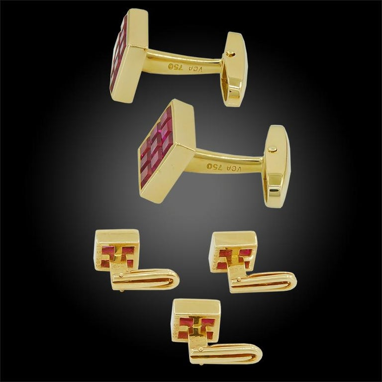 18k yellow gold 5 pieces mystery-set ruby cufflinks, signed Van Cleef & Arpels. circa the 1990s