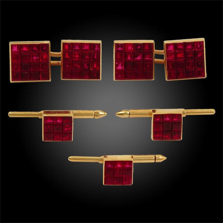 Square Cut Van Cleef & Arpels Mystery Set Ruby Cufflinks For Sale