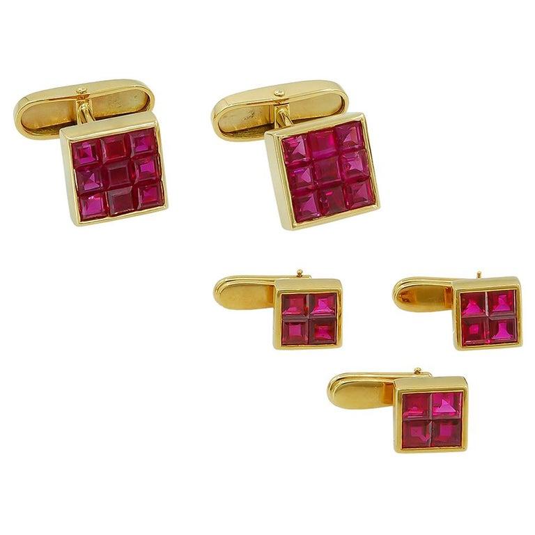 Van Cleef & Arpels Mystery-Set Ruby Cufflinks For Sale